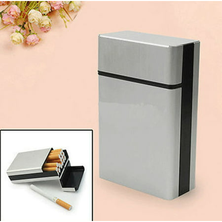 Intbuying Cigarette Tobacco Cigar Case Holder Aluminum Pocket Box Container Pack SHORT NEW #241039