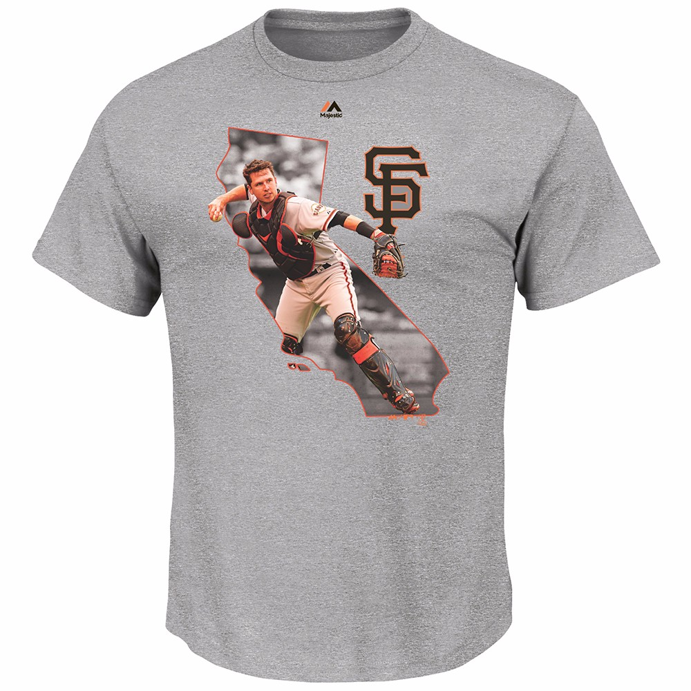 Buster Posey San Francisco Giants MLB Majestic Men's Grey California Graphic T-Shirt