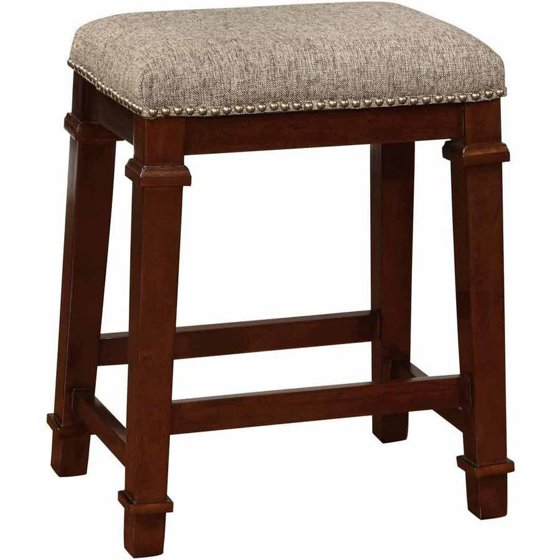 linon kennedy backless counter stool brown tweed 24 inch seat height. Black Bedroom Furniture Sets. Home Design Ideas