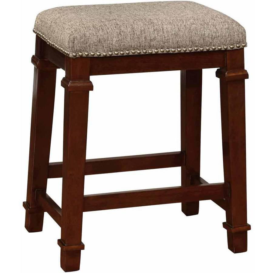 Linon Kennedy Backless Counter Stool, Brown Tweed, 24 inch Seat Height