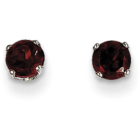 Garnet 14kt White Gold 4mm Stud Earrings