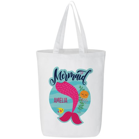 Personalized Just A Mermaid Tote Bag - - Pink Tote