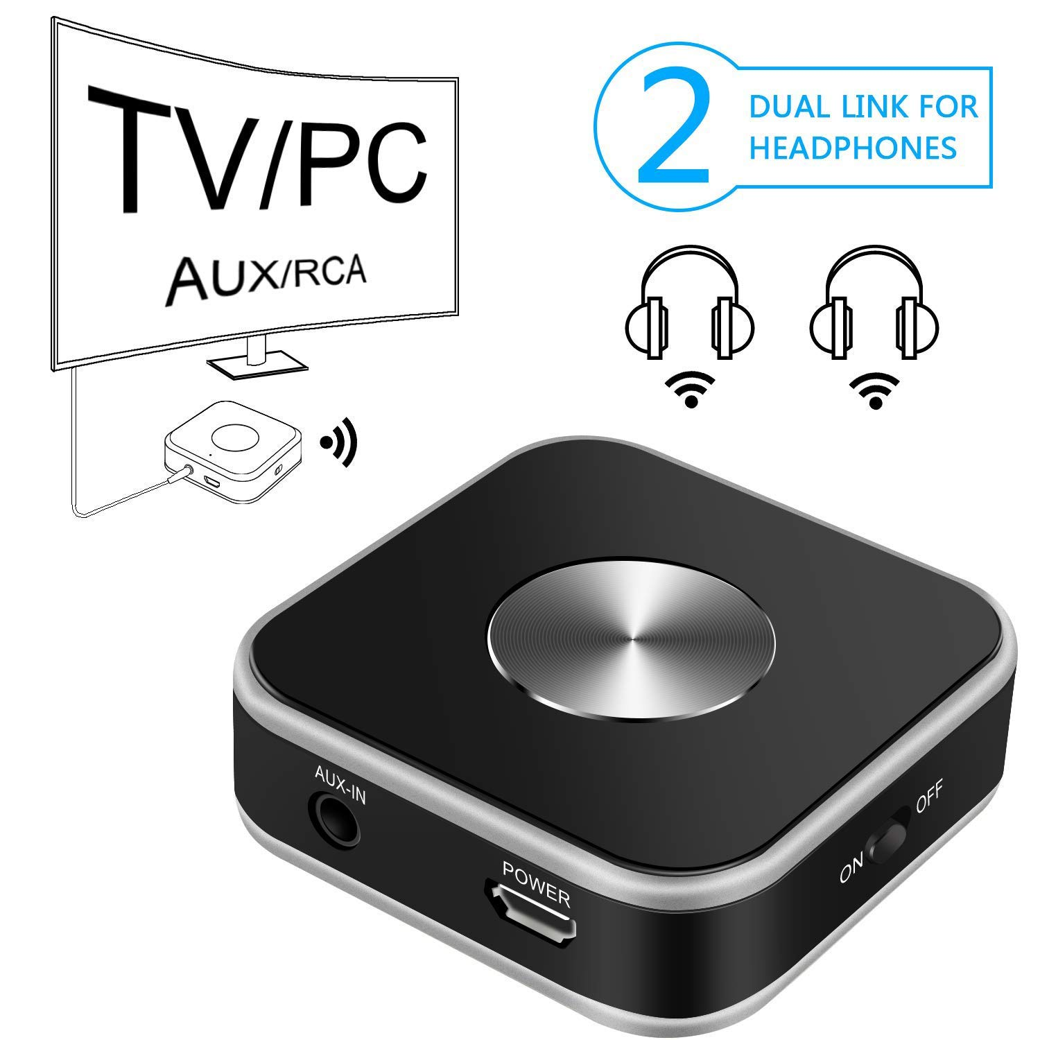 Bluetooth Audio Transmitter With 3 5mm Aux Rca Usb Input For Tv Computer Laptop Wireless Audio Adapter Support Dual Link For Two Headphones Walmart Com Walmart Com