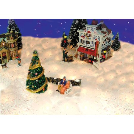5 pre lit snow blanket for mantle or christmas village display clear lights