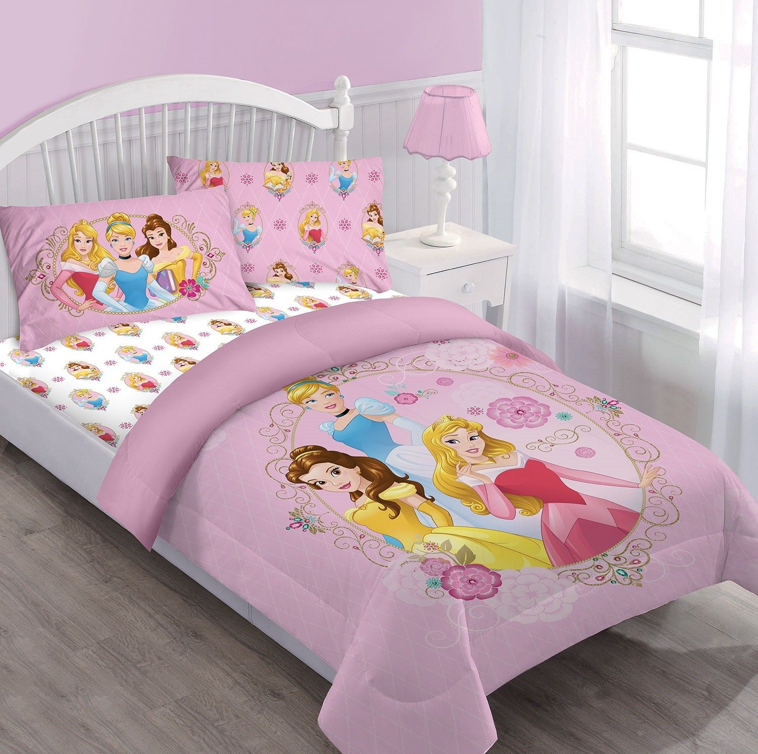 Disney 3pc PRINCESS Courage Dear Heart Bedding Set, Licensed Twin Comforter W/Fitted Sheet And Pillowcase