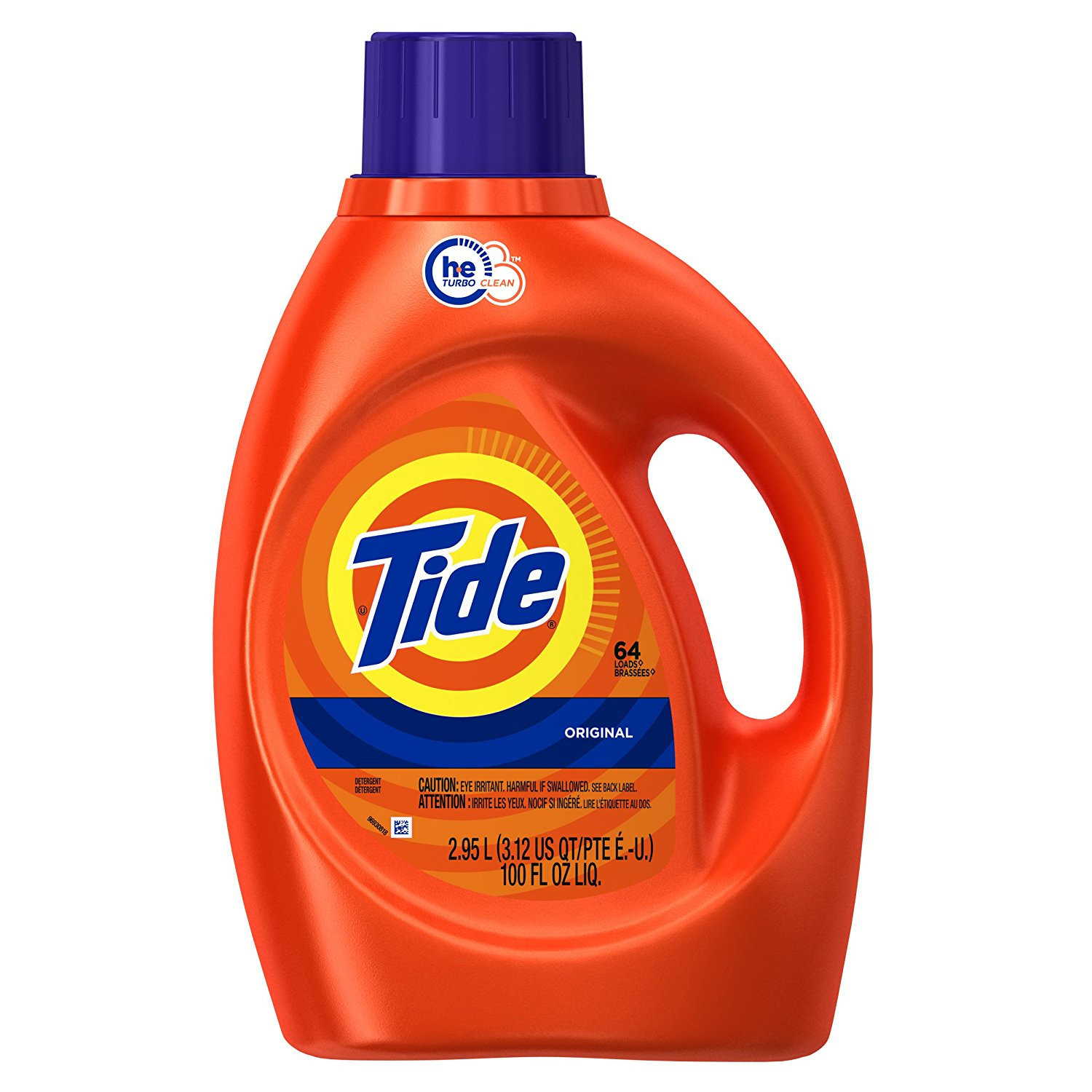 Tide Original Scent HE Turbo Clean Liquid Laundry Detergent, 64 Loads, 100 Oz