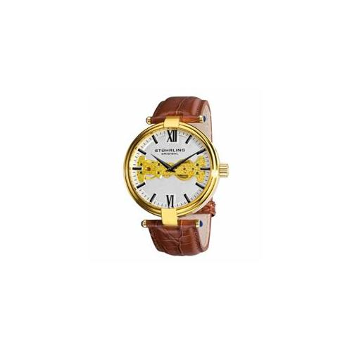 Stuhrling Original 330. 3335K2 Mens Automatic with Gold Tone Case with Gold Tone Movement, White Flange, Black Dauphine S