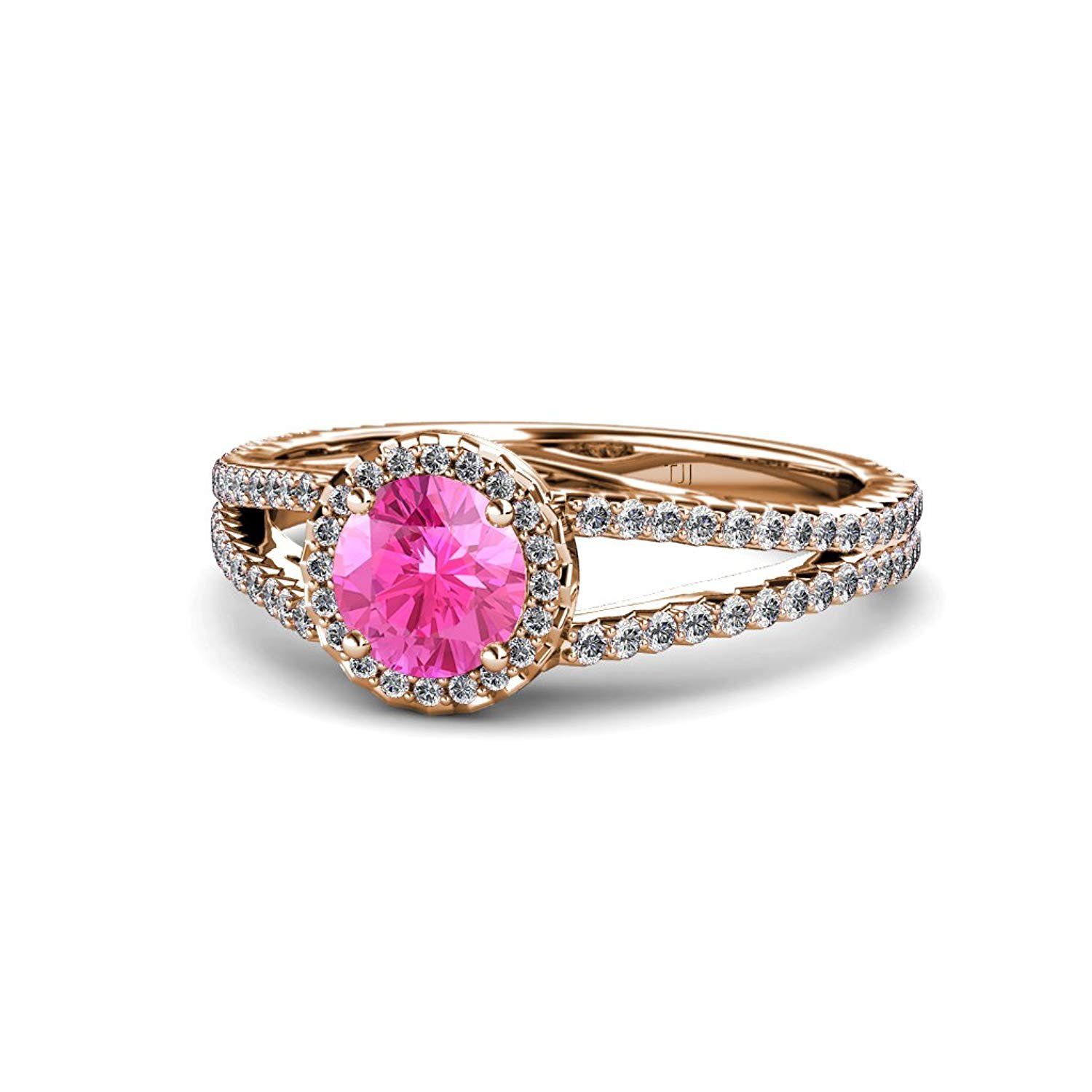 Pink Sapphire and Diamond (SI2-I1, G-H) Halo Engagement Ring 1.33 ct tw in 14K Rose Gold.size 4.5 by TriJewels