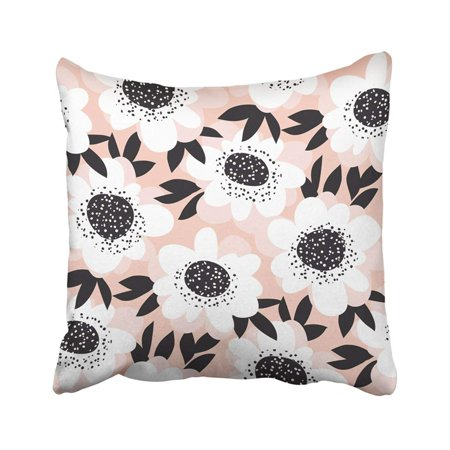 BPBOP Black Bad Pale Color Abstract Rose Flowers Sketch Pink Camellia Chamomile Chic Chick Daisy Pillowcase Throw Pillow Cover 18x18 inches