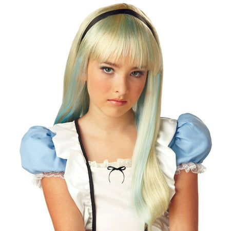 Alice In Wonderland Blonde & Blue Wig for Child ()