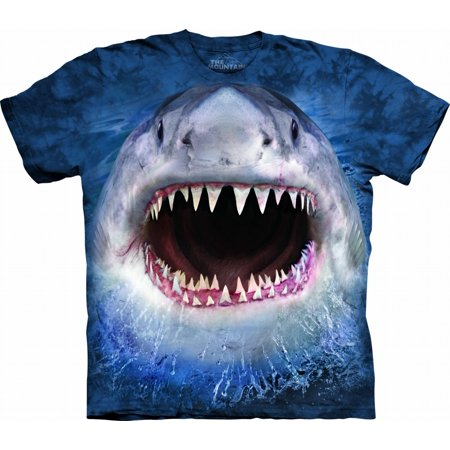Blue Cotton Wicked Nasty Shark Design Novelty Adult T-Shirt (Best Way To Design T Shirts)