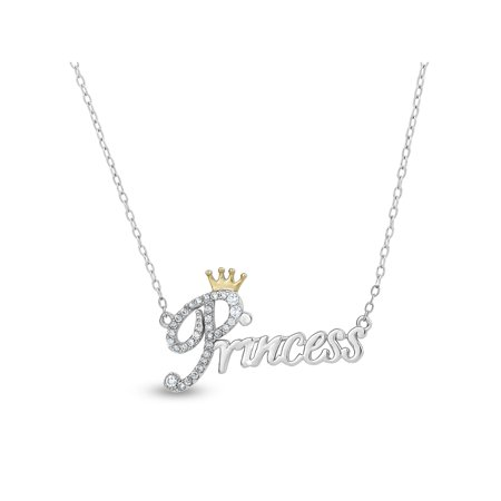 White CZ Sterling Silver and 18kt Gold over Sterling Silver Princess Crown Necklace, 18