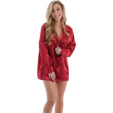 Beautiful Red Charmeuse Satin Pajama Top Sleep Night Shirt