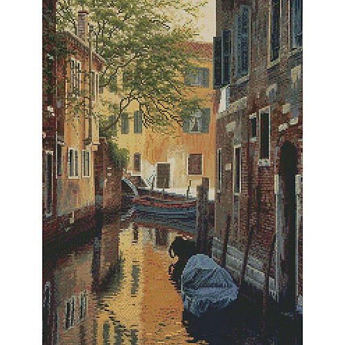 "Venetian Back Alley Counted Cross Stitch Kit, 12"" x 16"" 16 Count"