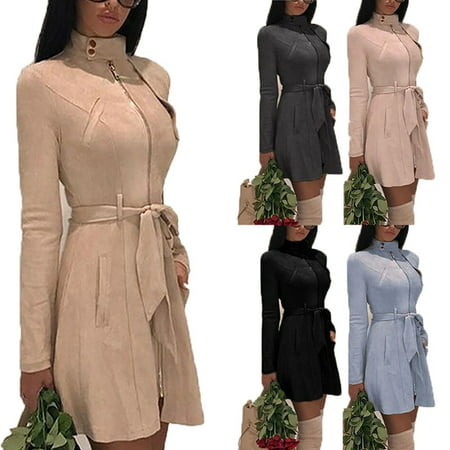 Women Fashion Solid Zipper Jacket Long Sleeve Trench Coat Suede Casual Windbreaker Autumn Winter Long Dress Coats with Belt