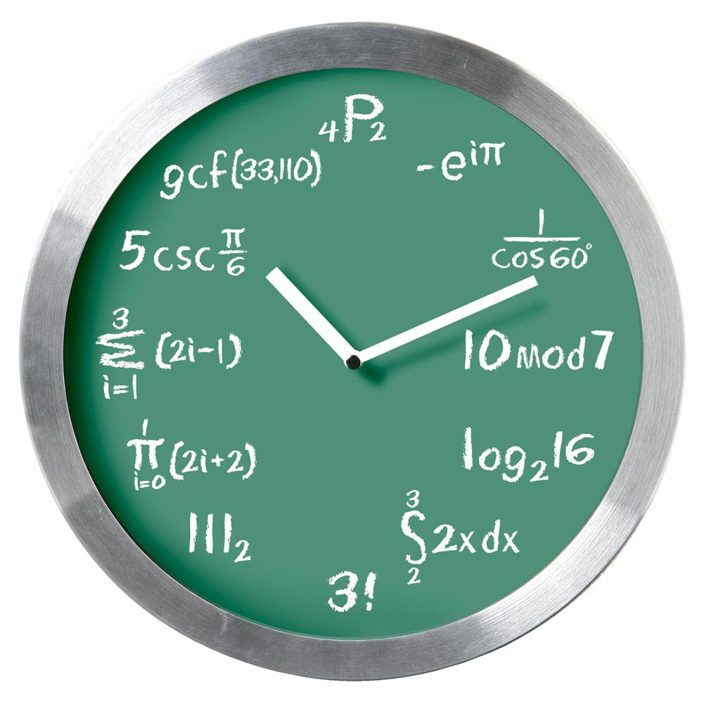 Mathematical Expression Blackboard Wall Clock - Classic Green Chalkboard Background