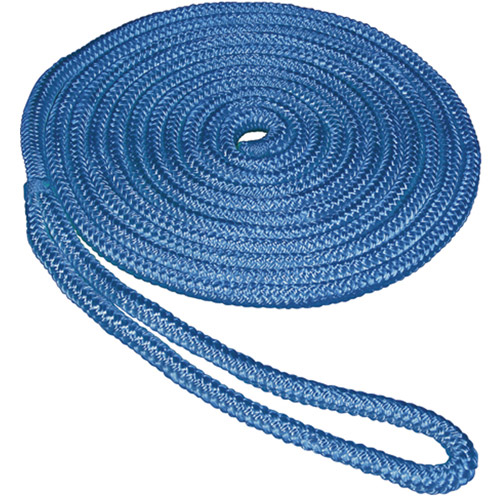 "SeaSense Double Braid Nylon Dock Line, 5 8"" x 35', 15"" Eye, Blue by Generic"