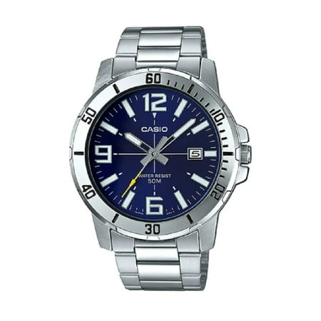Mens Analog Stainless Steel Band and Case Silver Blue Dial 50-meter Water Resistance Watch
