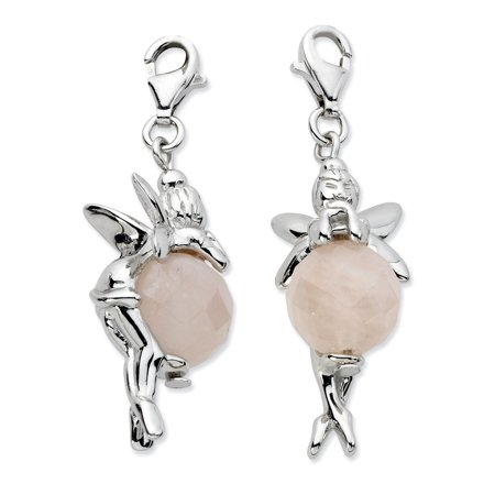 Sterling Silver Click-on Polished Fairy With Moveable Rose Quartz Stone Charm - Measures 38x12mm