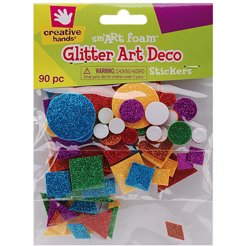 Foam Glitter Stickers Art Deco, 90pk