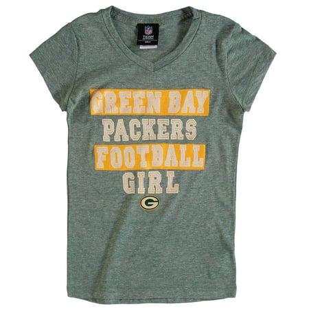Green Bay Packer Football Camp (Green Bay Packers 5th & Ocean by New Era Girls Youth Football Girl Tri-Blend V-Neck T-Shirt -)