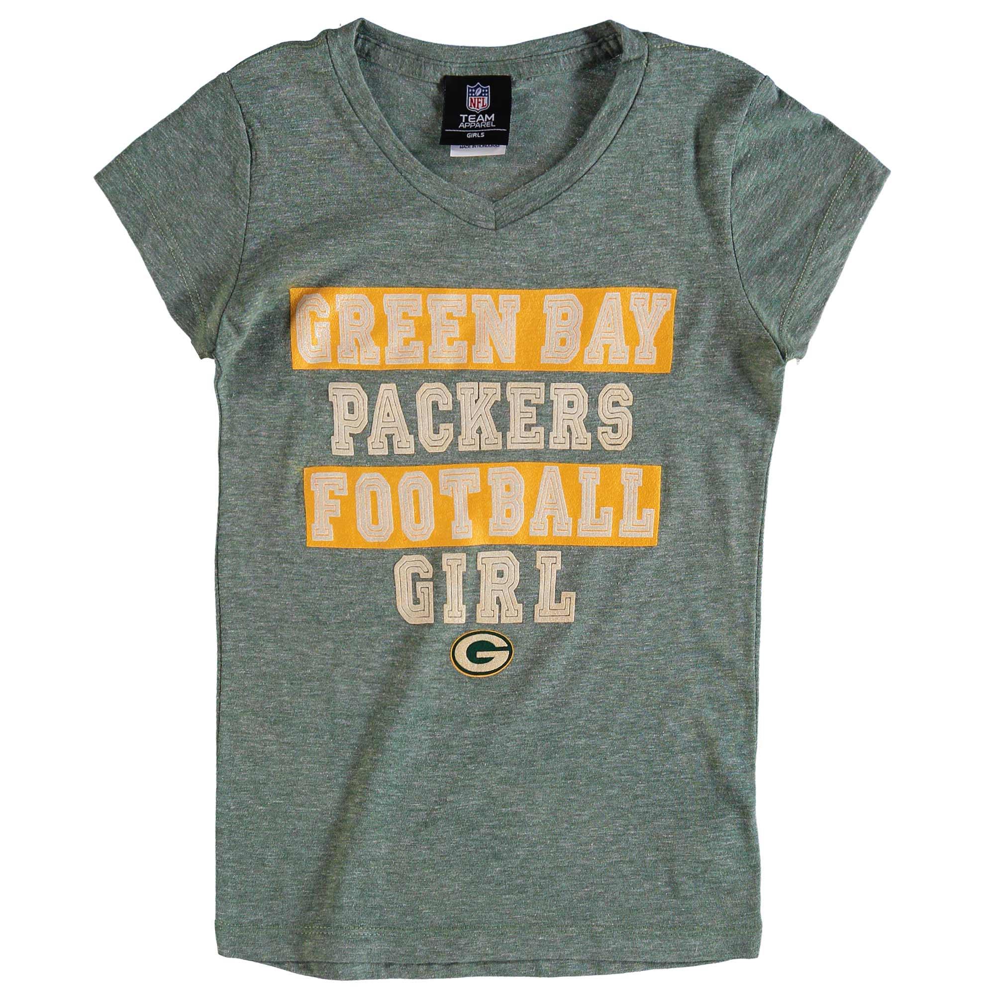 Green Bay Packers 5th & Ocean by New Era Girls Youth Football Girl Tri-Blend V-Neck T-Shirt - Green