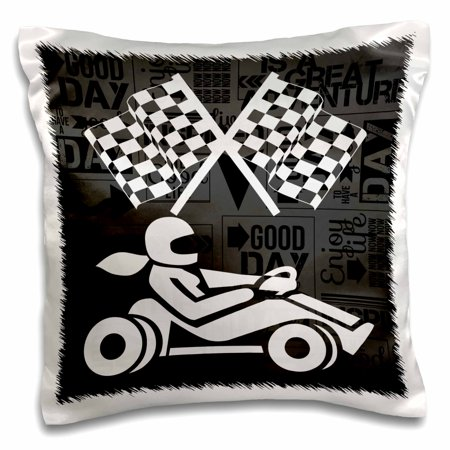 3dRose Go-cart Racer Checkered Flags in Black and White Adventure Word Art, Pillow Case, 16 by 16-inch - Black & White Checkered