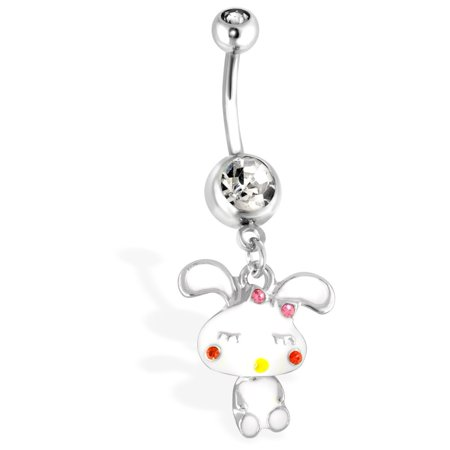 Cute Bunny With Mini-Dangle Body And Gemmed Cheeks Surgical Steel Navel (Best Non Surgical Cheek Lift)