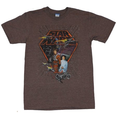 Star Wars Mens T-Shirt -  Classic Luke in X-Wing  Gear with X-Wings