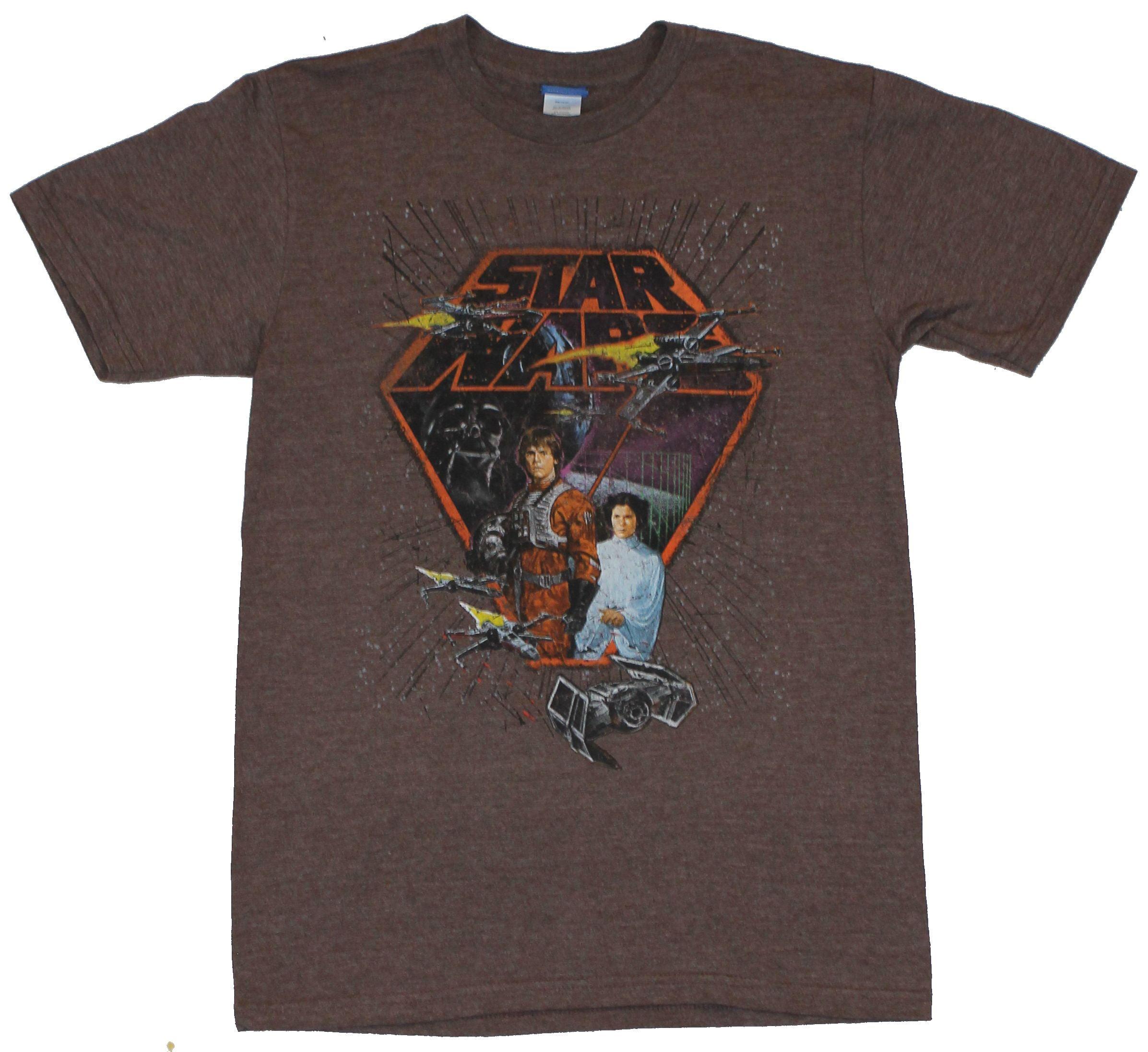 Star Wars Mens T-Shirt -  Classic Luke in X-Wing  Gear with X-Wings Logo