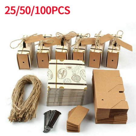 Burlap Wedding Favors (25/50/100pcs Mini Suitcase Favor Box Party Favor Candy Box, Vintage Kraft Paper with Tags and Burlap Twine for Wedding, Travel Themed Party, Wedding)