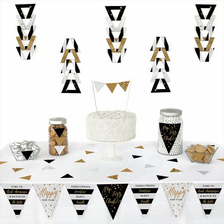 (New Year's Eve - Gold - Triangle Party Decoration Kit - 72 Pieces)