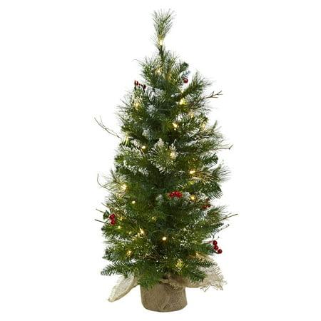 3 ft pre lit christmas tree with berries burlap bag - 3 Ft Pre Lit Christmas Tree