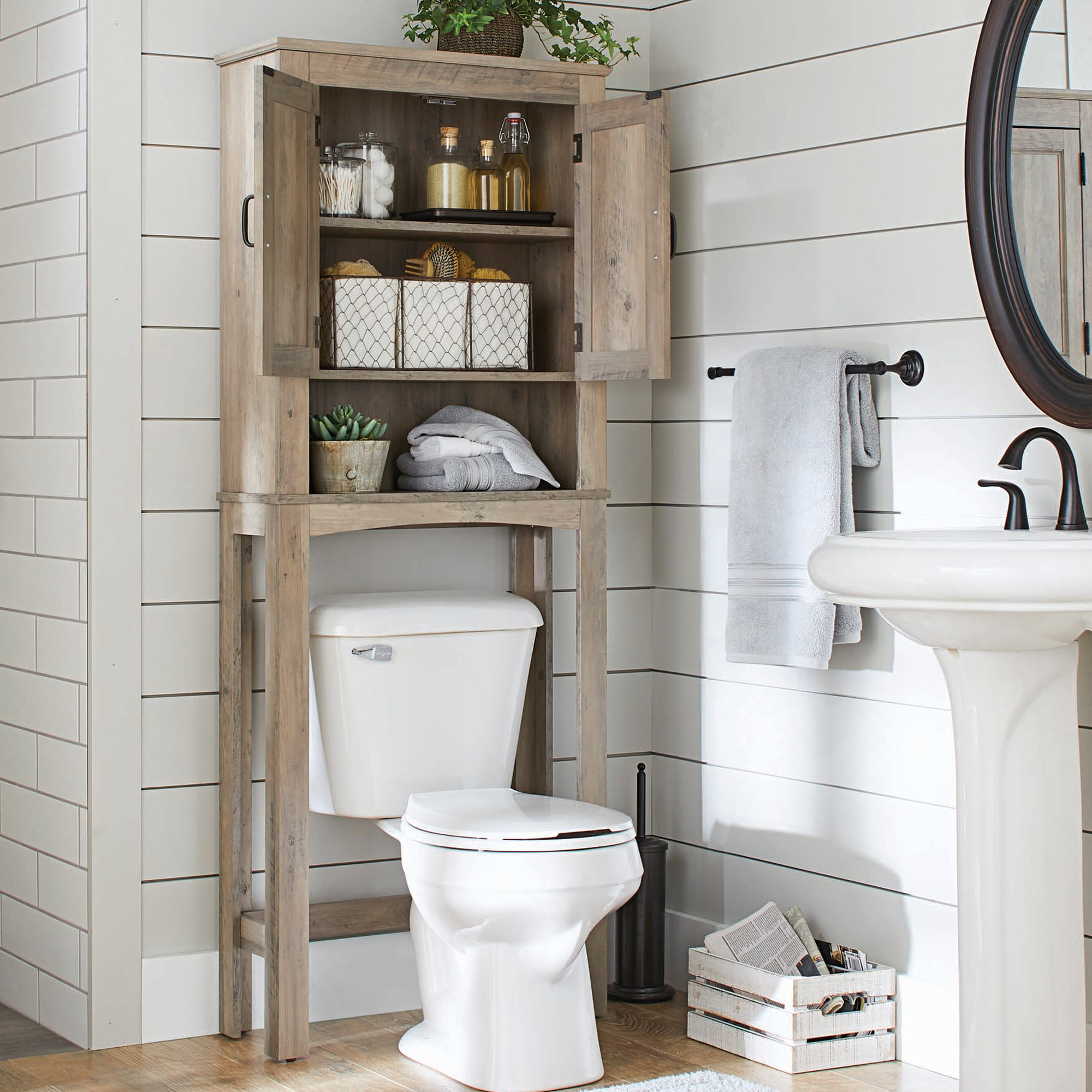 Terrific Better Homes Gardens Northampton Over The Toilet Bathroom Space Saver Rustic Gray Finish Download Free Architecture Designs Lectubocepmadebymaigaardcom