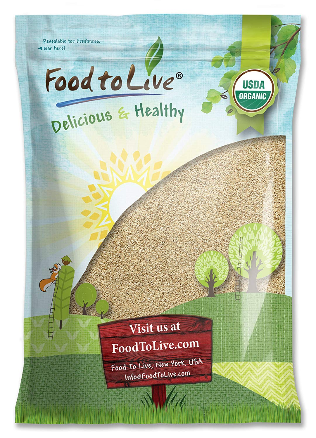 Food To Live ® Certified Organic Sesame Seeds (Raw, Hulled) (8 Pounds)