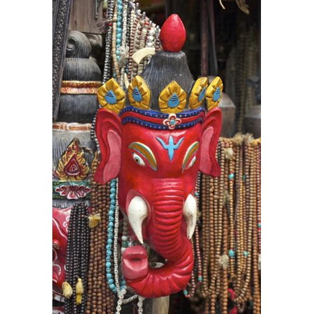 Mask of Ganesha, a Hindu God, on Sale at Swayambhunath Stupa (Monkey Temple) Print Wall Art By Peter (Best Hindu Temples In Usa)