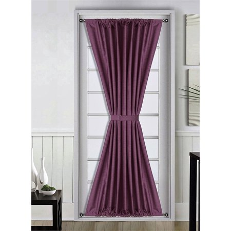 1 Pc PLUM PURPLE Insulated Heavy Thick French Door Thermal Blackout Rod Pocket Curtain Panel with Tieback 55