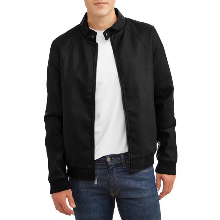 Men's Faux Leather Bomber with Sherpa Lined Interior Classic Mens Leather Bomber Jackets