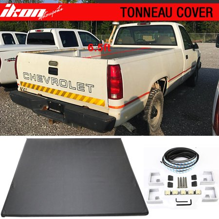 Bed Pickup Cover - Fits 98-00 CHEVY GMC C/K Pickup 6.5 ft 78in Bed Lock Soft Tri-Fold Tonneau Cover