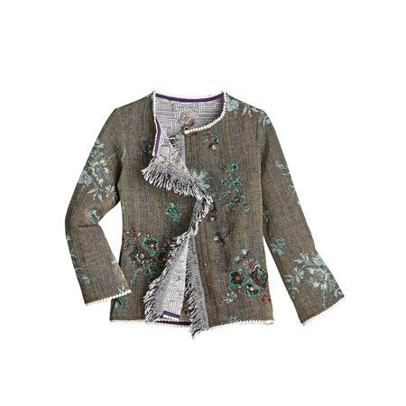 Catalog Classics Women's Fringed Open Front Jacket - Taupe, Floral Embellishment