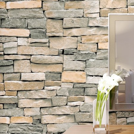 10MX45cm 3D Brick Schist Self-adhesive Wallpaper Sticker Film Wall Sticker Roll Vinyl Mural Bedroom Living Room Home Decoration (Wallpapers Halloween 3d Gratis)