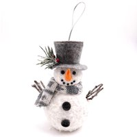 Holiday Time Snowman w/grey Hat orn