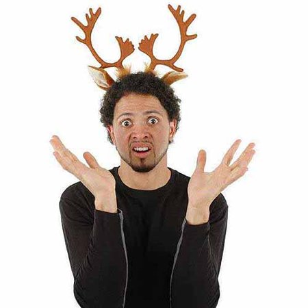 Jack In The Box Head Halloween Costume (Reindeer Antlers Headband Adult Halloween Costume)