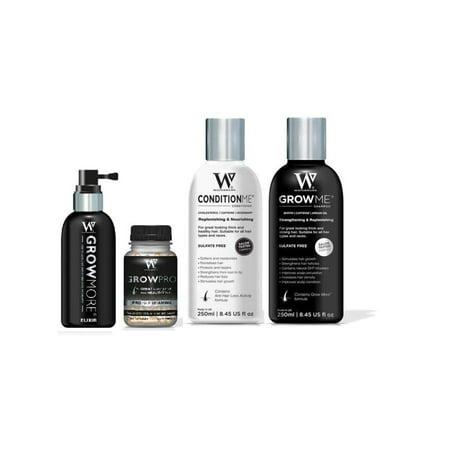 Watermans Hair Growth Shampoo, Conditioner,  Elixir Boosting Serum, and GrowPro Hair Vitamins Super Bundle