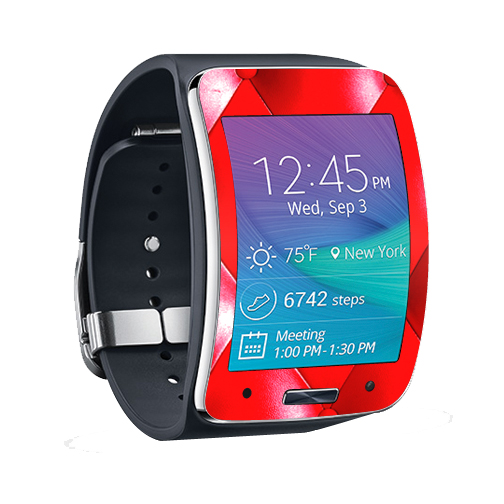 MightySkins Protective Vinyl Skin Decal for Samsung Galaxy Gear S Smart Watch cover wrap sticker skins Red Upholstery
