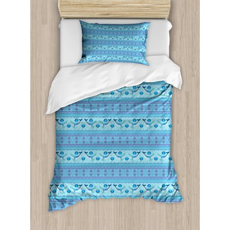 - Whale Twin Size Duvet Cover Set, Ocean Inspired Pattern with Ethnic Geometrical Borders Fish and Scallops, Decorative 2 Piece Bedding Set with 1 Pillow Sham, Turquoise Lilac Blue, by Ambesonne