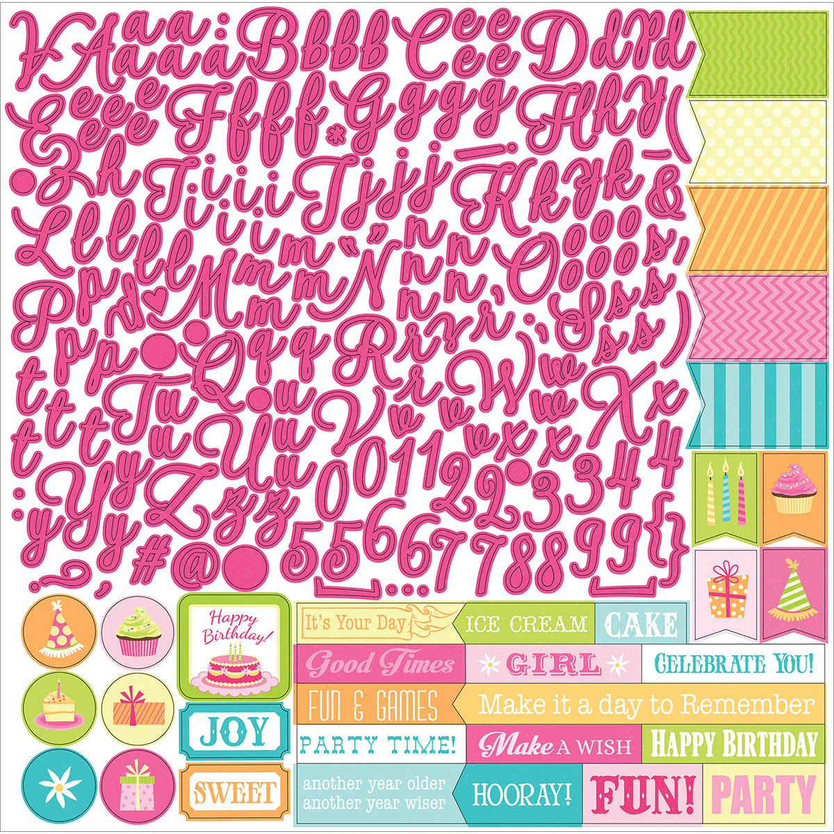 "Party Girl Stickers 12""X12""-Alphas"