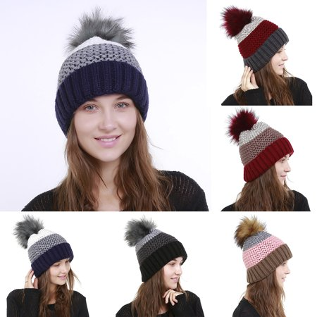 Fashion Winter Hats Women Casual Color Bloack Hip Hop Knitted Warm ... 4b1696f8c99