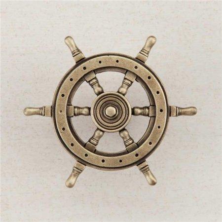 Acorn Manufacturing DPCAP Artisan Collection Ships Wheel Knob, Antique Brass