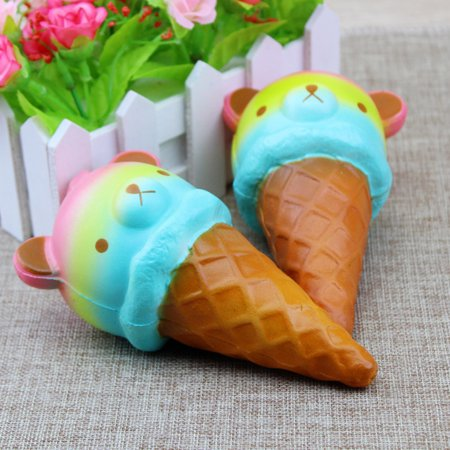 Squishy Toy Bear-Head Ice Cream Novel Creative Halloween Present Slow Rising Squishy Toy Bear-Head Ice Cream Squeeze Kid's Toy Birthday Christmas Gift Stress Relief Decoration